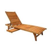 Leisure Season Chaise Lounge with Pull-Out Tray, Medium Brown