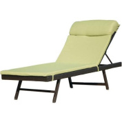 Hanover Outdoor Furniture Orleans Woven Chaise Lounge with Cushion, French Roast/Avocado Green