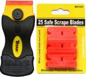 25 Plastic Double Edged Razor Blade and Titan Scraper