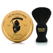 "~Shaving Soap and Shave Brush Combo Kit~ ""Smoulder"" Gold Luxury Shaving Soap and Satin Tip The Purest Black Synthetic Hair Luxury Shave Brush - By The Blades Grim"