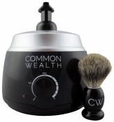 Common Wealth Professional Deluxe Hot Lather Machine Barber Latherizer King Size Black Colour With Bonus 100% Badger Shaving Brush & 240ml Lather Concentrate