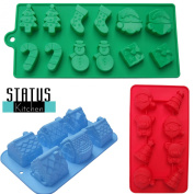 3 Pack Christmas Silicone Candy Moulds. Make Cake, Chocolate, Gummies, Ice. Gingerbread House Cake Mould & 2 Cute Xmas Trays for Candy, Chocs & Gummies. Make This Xmas Fun with 'Status Kitchen' Moulds