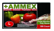 Ammex PGLOVE-500 Food Service Poly Glove, Latex Free, Disposable, Powder Free, Medium