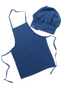 Chefskin Royal Blue Apron + Hat Baby Toddler Kid Children Chef Set Lite Fabric