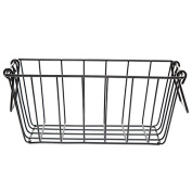 Black Rectangular Wire Basket with Swing Handle - Small