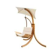 Leisure Season Swing Chair with Umbrella, Medium Brown
