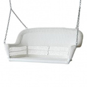 130cm Hand Woven White Resin Wicker Outdoor Porch Swing with Hanging Chain