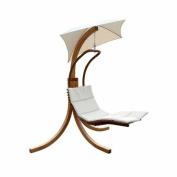 Leisure Season Swing Lounge with Umbrella, Medium Brown