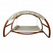 Leisure Season Swing Bed with Canopy, Medium Brown