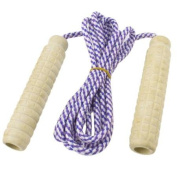 Wooden Handle Sport Exercise Jumping Skipping Cord Rope Purple White 2Meter Long