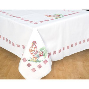 Stamped White Table Cloth 130cm x 180cm , Rooster