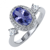1.33 Ct Oval Blue Tanzanite White Topaz 925 Sterling Sterling Silver Diamond Accent Ring