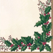 Creative Converting 36568 16 Count Winter Holly Paper Dinner Napkins