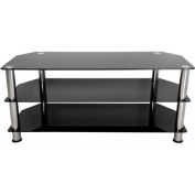 AVF Black Glass Floor Stand with Chrome Legs for TVs up to 140cm