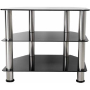 AVF Black Glass Floor Stand with Chrome Legs for TVs up to 80cm