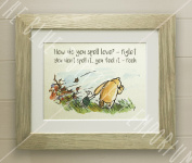 Winnie the Pooh FRAMED QUOTE PRINT, New Baby/Birth, Nursery Picture Gift, Pooh Bear, and Piglet, How do you spell love.