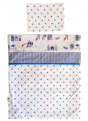 Vizaro - Quilt & pillow for Moses Basket - 100% Luxury Cotton - Beach Huts Collection - Blue, red & white colours - Tested against harmful substances - Made in EU
