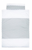 Vizaro - Duvet Cover Bedding Set for COT - 100% Premium Quality Luxury Cotton - Little Stars Collection - White & Grey Colours - Tested against harmful substances - Made in EU