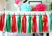 SUNBEAUTY 20PCS Assorted Red Green Gold and White Colours Handmade Tissue Paper Tassel Garland Tissue Paper Fringe Bunting DIY Garland Pom For Baby Shower Wedding Birthday