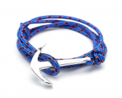 VIRGINSTONE Silver Anchor Bracelets on Colourful Nylon Ropes