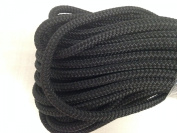 0.8cm By 30m Double Braided Polyester Halyard Line, Black