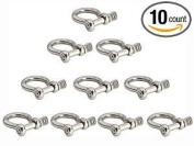 Jingyi Stainless Steel Bow Shackle, 4mm, Silver Colour,for Paracord Jewellery, Marine Tackle. 10 Pieces