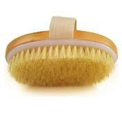 Tenflyer Dry Skin Body Brush Natural Bristle Brush Soft Handle Pouch Brush SPA Brush