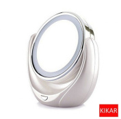 KIKAR Desktop Portable Battery Operated LED Illuminated Double-sided Swivel Makeup Mirror - Standard and 5x Magnification