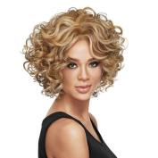 Fashion Curly Hair Wigs Beautiful Short Fabulous Brownyellow Wig Party Hair For Woman