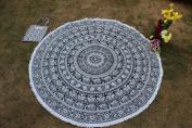 Elephant Mandala Round Roundie Beach Throw Indian Tapestry Hippie Yoga Mat Decor