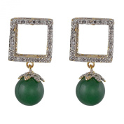 Adwitiya Collection Women's American Dimond Stud With Stone Gold