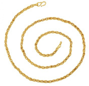 The Jewelbox 3D Wire Ball 22K Gold Plated 60cm Chain for Women