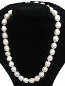 Stunning Cultured Freshwater Large 10-11mm White Oval Shape Baroque Pearl necklace with a pretty diamante bead with large silver (925) clasp, presented in an attractive satin silk pouch with gift card