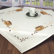 Embroidered Tablecloth White 80 x 80 Cross Stitch
