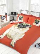 Red Percy Pug Dog Sunglasses Duvet Cover Set