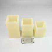 3 Square Battery Operated Vanilla Scented Flickering LED Wax Candles with Remote Control by Festive Lights