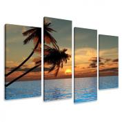 Visario 6144 Canvas Picture 130 x 80 cm Palm Trees 4 Parts