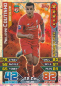 Match Attax 2015/2016 Philippe Coutinho Star Player Trading Card 15/16