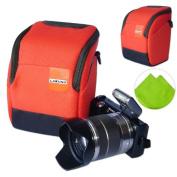 First2savvv high quality anti-shock orange Nylon camera case bag for Nikon 1J2 1J3 1v1 1 AW1 COOLPIX P7800 1v2 with LENS Cleaning Cloth
