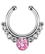 Live It Style It Nose Ring Septum Hanger Fake Clip On Clicker Gem Piercing Non Piercing Gold