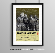 Dad's Army Cast Signed Autograph Signature Autographed A4 Poster Photo Print Photograph Artwork Wall Art Picture TV Show Series Season DVD Boxset Present Birthday Xmas Christmas Memorabilia Gift Dads Army