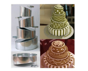 Euro Tins multi layer cake pans Topsy Turvy Round 4 tier wedding cake pan - cake tin set with detachable stand