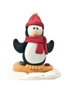 Christmas Cake Decoration Topper Claydough Snowboarding Penguin 48mm