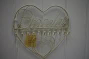 Cream Heart Jewellery Wall Mounted Bracelets Wire Writing