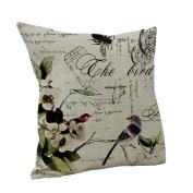 Amybria Linen Bird Throw Pillow Case Sofa Cushion Cover Home Decor Type D