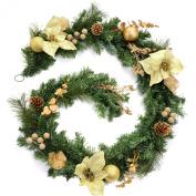 WeRChristmas 1.8m Decorated Garland Christmas Decoration, Cream/ Gold