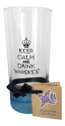 Blue 'Keep Calm And Drink Whiskey' Hand Painted Long Glass by Memories-Like-These UK