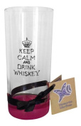 Pink 'Keep Calm And Drink Whiskey' Hand Painted Long Glass by Memories-Like-These UK