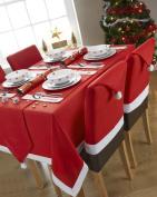 CHRISTMAS SANTA'S TABLE RED WHITE FLEECE 4 - 6 PLACE RECTANGULAR TABLECLOTH 130cm X 180cm