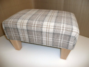 Footstool/ pouffee in a latte tartan fabric....also available in different coloured fabrics...just ask and we can make it for you